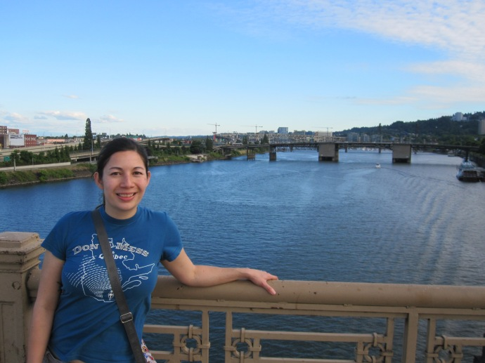 crossing the Burnside Bridge over the Willamette River