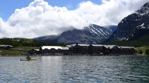 kayaking Swiftcurrent Lake near Many Glacier Hotel
